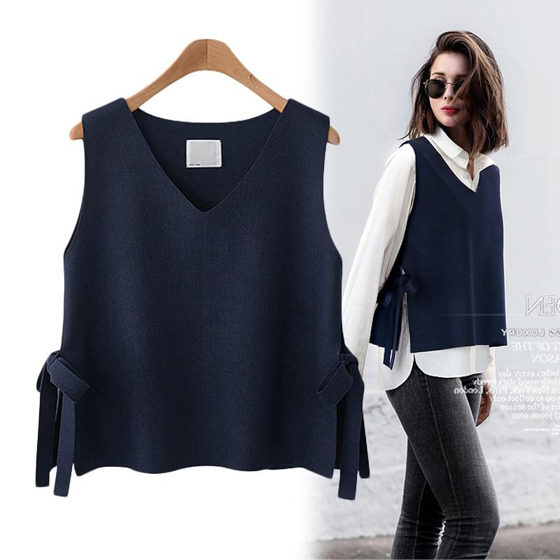 Women Vest Spring And Autumn Short Women's Vest Korean Version Of The Wool Vest Women's Belt With Knit Wild Wear Cashmere Vest