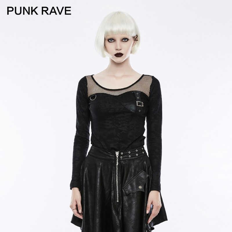Панк рейв кожаный бюстгальтер Прозрачная сетка женские футболки с длинными рукавами с принтом Harajuku футболки укороченный Топ Футболка панк рок одежда