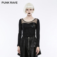 PUNK RAVE 2018 Leather Bra Transparent Mesh Women Long Sleeve Print T Shirts Harajuku Tees Crop