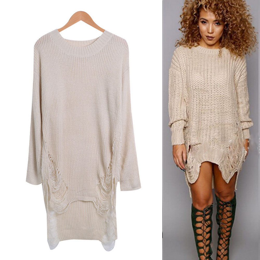 Women  Long Sleeve Casual  Knitwear  Solid Vintage Winter Dress Lady Knitted Sweater Dresses O Neck  Knit Jumper Mini Dress