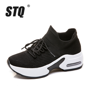 Image 2 - STQ 2020 Autumn Women Flats Sneakers Height Increasing Women Sneakers Shoes Chaussures Femme Creepers Mocassins Shoes 20209