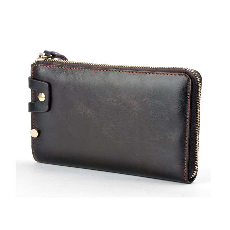 Vintage Genuine Leather Long Wallet Male Clutch Bag Multi-card Big Capacity Men Purse Fashion Hand Take Notecase PR579001 brand double zipper genuine leather men wallets with phone bag vintage long clutch male purses large capacity new men s wallets