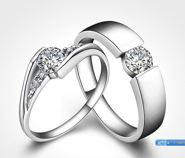 Fashion Wedding Couple Ring 925 Sterling Silver Engagement Rings