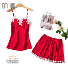 Pajamas Sets For Woman Summer 2019 Silk Stain Floral Female Pyjamas Suits Sleep Wear Home Sexy BANNIROU