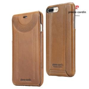 Image 5 - Original Pierre Cardin Phone Cases Bags For iPhone 7 8/ 8 Plus Cover Genuine Leather Vertical Flip Case For iPhone 8 7 Plus Case