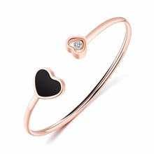 2017 Double Heart Cuff Bracelet Manchette Rose Gold color Love Bangle For Women Bracelets Bangles Pulseiras CZ Crystals Jewelry