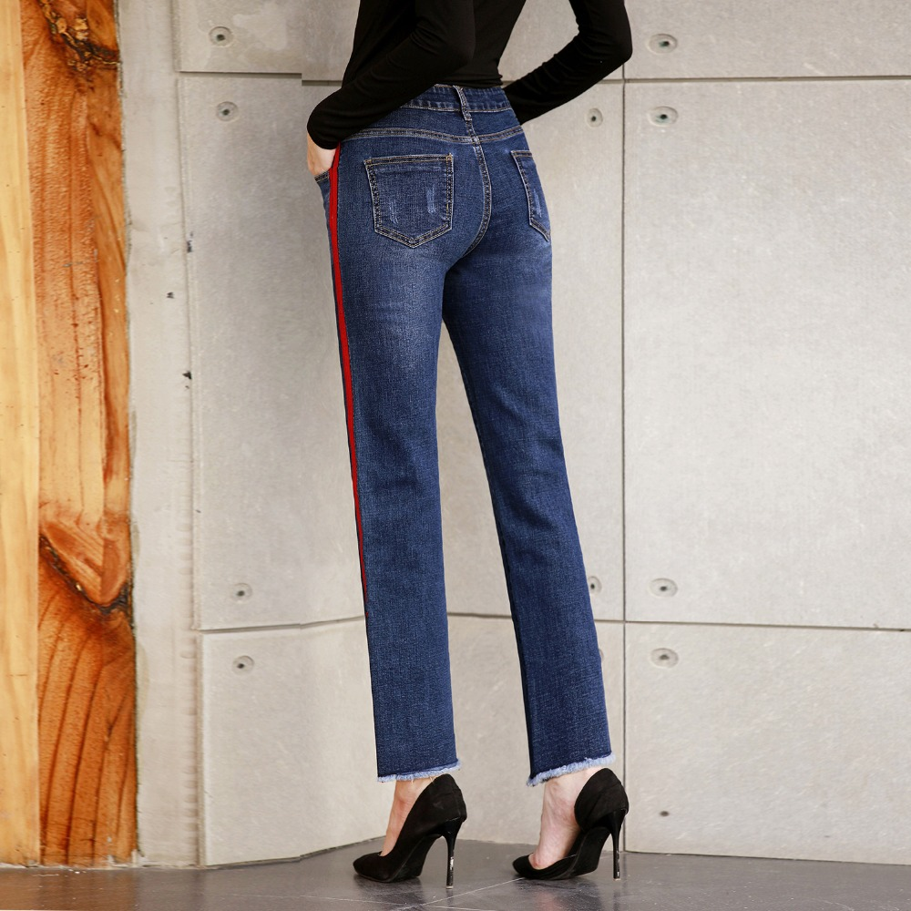 Dtynz Jeans Webbing Side Slit Wide Leg Pants Straight Long Pants Tight Stretch Nine Pants Women High Waist Jeans Push Up Elastic