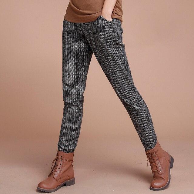 HCXR 2018 femmes hiver coton velours Sueur Pantalon rayé de harem casual  élastique noir pantalon pantalon 8509403d40e
