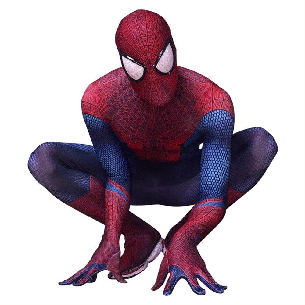 The Amazing Spiderman Costume Original Movie Spandex Spider-man Superhero Costumes TASM Zentai Jumpsuit Halloween Costumes