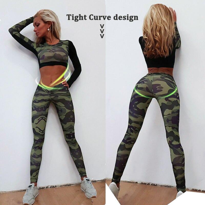 M Nouvelle GYM Fitness Serré Femmes Survêtement Camouflage Coutures Sweat Définit Yoga Ensembles Sport Usure Costume Workout Vêtements Dropship