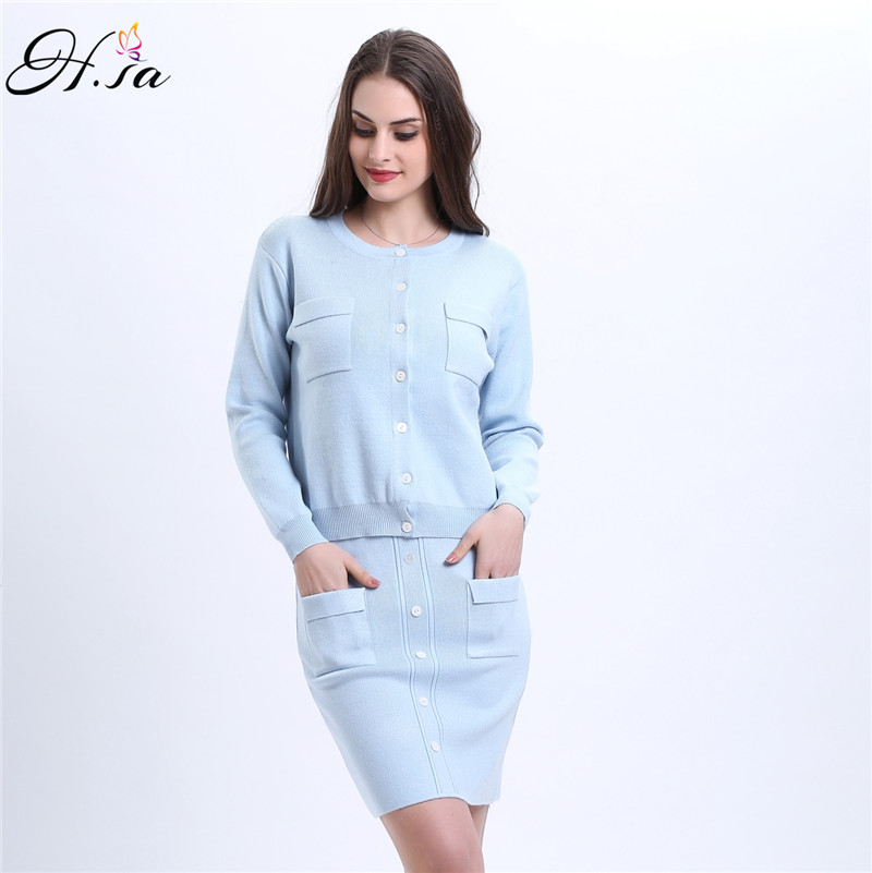 H.SA 2017 Spring Women Knitted Dresses Two Pieces Suit Long Sleeve Knee Length Jumpers Buttons Sweater Cardigans Women Suit Sets