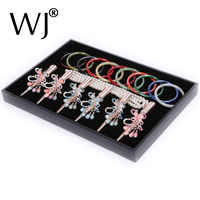 Black Velvet Jewelry Tray Carrying Case Display Ear Ring Necklace Bracelet Chain Bangle Watch Presentation Storage