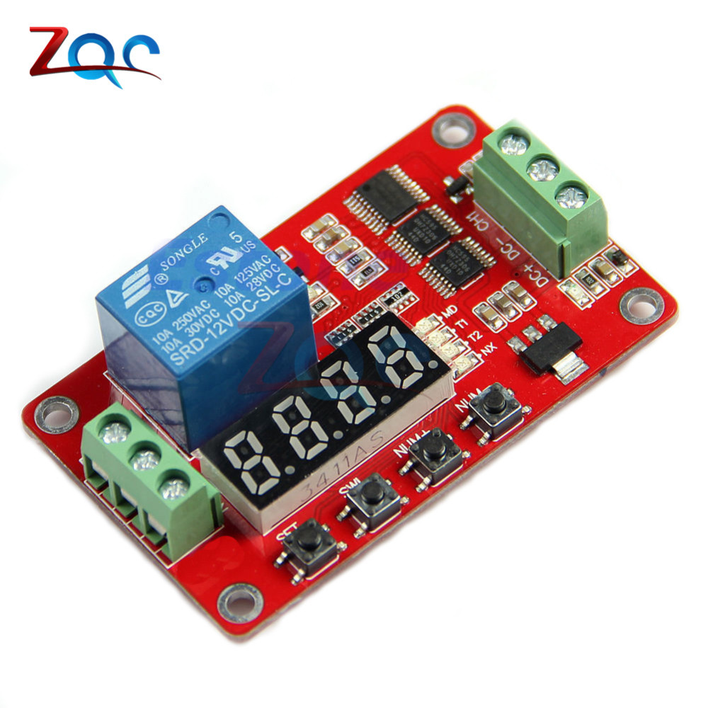 12V DC Multifunction Self-lock Relay PLC Cycle Delay Time Timer Switch Module PLC Home Automation Delay Module 12v timing delay relay module cycle timer digital led dual display 0 999 hours