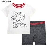 Little maven merk kinderen 2018 zomer baby jongens kleding katoen kinderkleding sets handgeschilderde dinosaurus t-shirt + shorts 20205