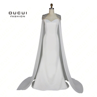 Real Photos Chiffon Cloak Beaded Handmade Long Evening Dress Ivory CoLor Sweetheart Mermaid Stain Formal OL103072