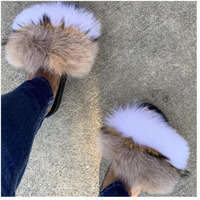 Real Raccoon Fur Slippers Slides Summer Flip Flops Casual Vogue Fox Fur Sandals Vogue Plush Shoes