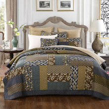 CHAUSUB Patchwork Quilt Set 3pcs Vintage Print Coverlet Handmade Cotton Bedspread Quilted Quilts Pillowcase King Queen Size
