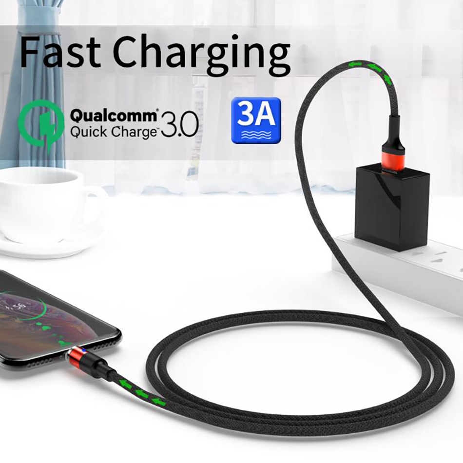 Magnetic Charging Cable Data Transmission Line Micro USB Type C Plug 3A LED Indicator Magnet Charger For iPhone 6 7 X Samsung S8 in Mobile Phone Chargers from Cellphones Telecommunications