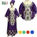 (Envío Gratis) Nueva moda ropa mujeres trasladadas Africano Bazin africano de algodón pañuelo bordado túnica de gala S2283
