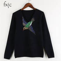 2017 Winter New Women Bird Pattern Beaded Sequins Embroidered Sweater Black White S M L ZR144