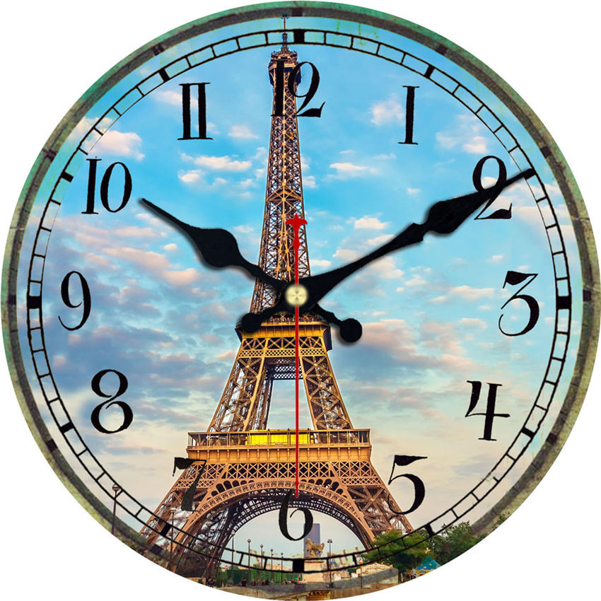 Vintage Wall Clock,Scenery Wall Watches Home Decor,Large Clock Non Ticking