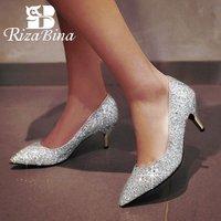 RIZABINA Size 32 43 Pointed Toe Glitters High Heels Shoes Women Thin Heel Pumps Pary Wedding Sapato Feminino Fashion Footwear