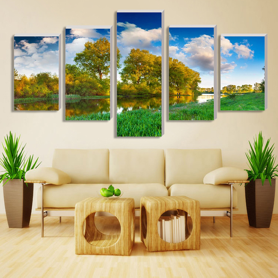 Paintings no border 5 tree countryside home decor canvas print on wall decoration pictures into the world of oil painting
