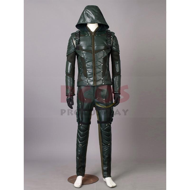 Klar för att skickas Green Arrow Säsong 5 Oliver Queen Cosplay - Maskeradkläder och utklädnad