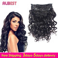 Virgin Brazilian Hair Loose wave Clip In Extensions 100-120G Clip In Brazilian Hair Extensions Clip In Human Hair Extensions