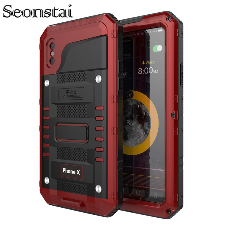 Seonstai Waterproof Aluminum Case For iPhone X 8 7 6 6S Plus 5s Shockproof Dustproof Cover Metal Armor Shell With Tempered Glass