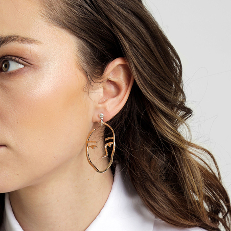 2018 New Arrival Face Drop Earrings Personality Women Jewelry Man Facial Expression Dangle Earring Gold Silver Ear Drop ES3191