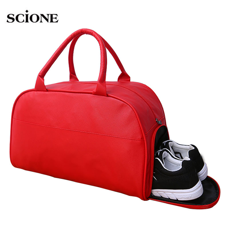 Leather Women Men Gym Bags For Fitness Bag Yoga Handbags Training Gymtas Sac De Sport Sports Sack Travel Shoes Tas Solid XA670WA