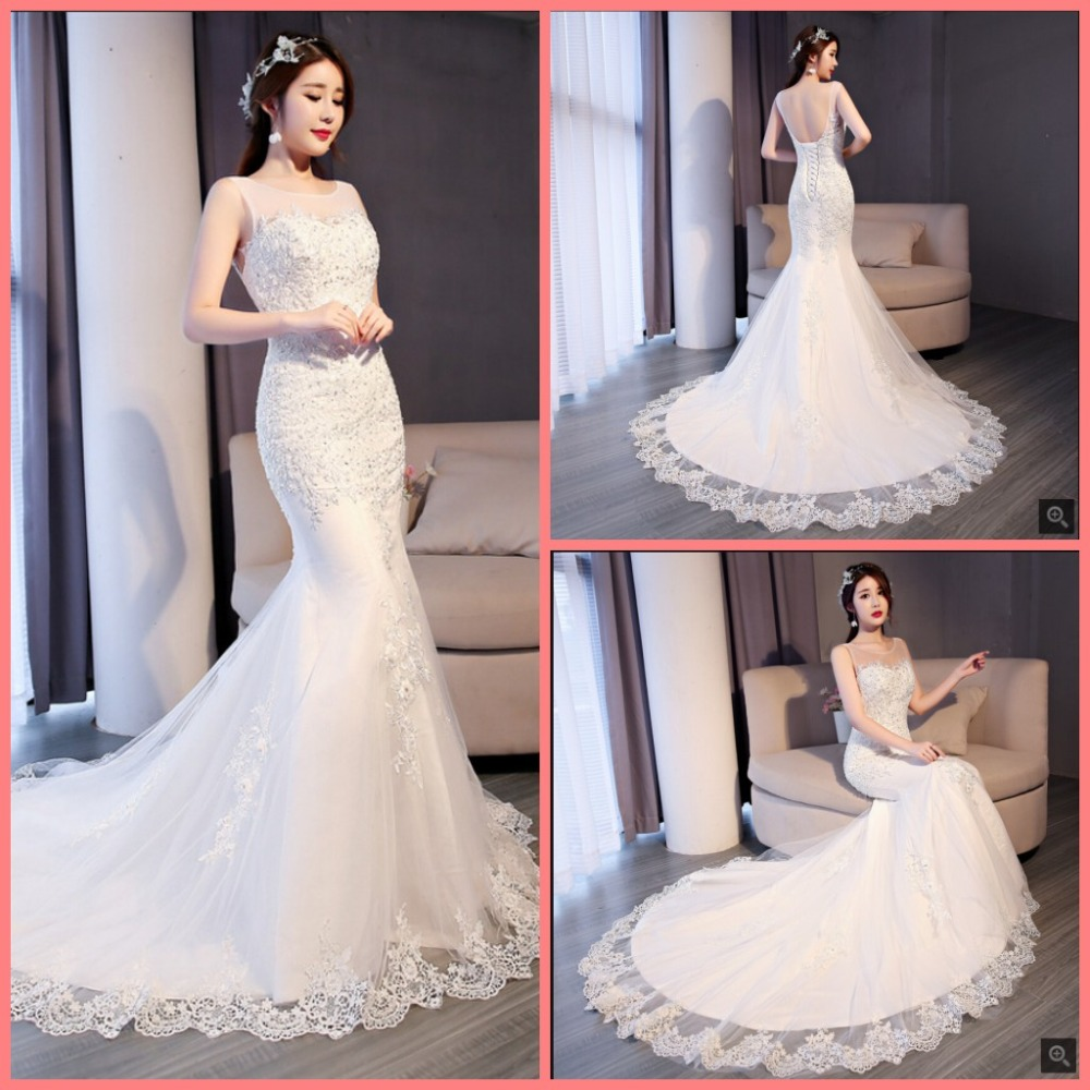 Robe De Mariage Mermaid White Lace Appliques Beaded Corset Wedding Dress Open Back Sexy Sleeveless Court Train Wedding Gowns