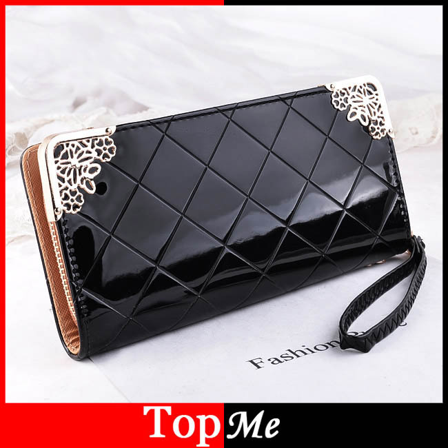 Promotion  Free shipping Patent PU Leather Women Wallet Lady Coin Purse Long Plaid Clutch Wallets Hand Bags cards ID holders
