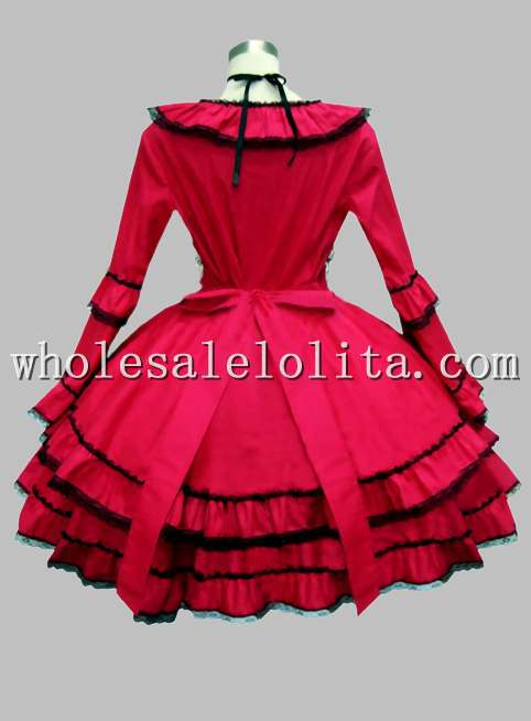 В готическом стиле, цвет красного вина по колено в викторианском стиле платье эпохи