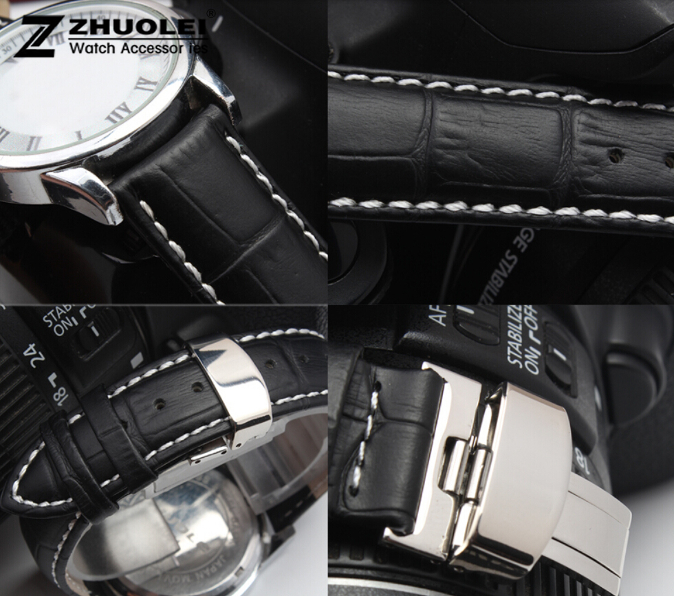 16mm 18mm 19mm 20mm 21mm 22mm 24mm Mens Watch band Black Genuine Leather Watch Strap Butterfly Deployment Clasp 22mm 24mm black mens genuine leather watch strap band