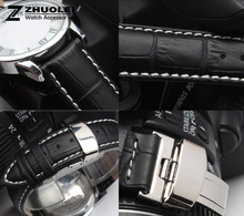 16mm 18mm 19mm 20mm 21mm 22mm 24mm Mens Watch band Black Genuine Leather Watch Strap Butterfly Deployment Clasp