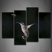 4 Panels Unframed Wall Art Pictures Hummingbird Insect Canvas Print Modern Animal Posters No Frame For Living Room Decor