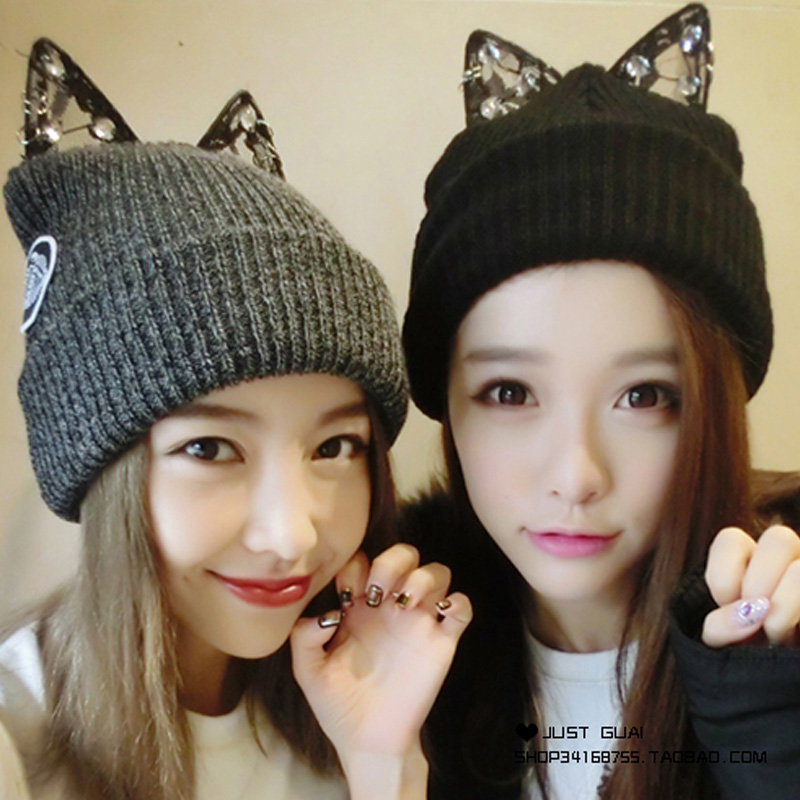 New Beanie Cotton Winter Hats for Women Autumn Winter Hat Cute Kitty Ladies Beanies Hat for Girls Skullies Gorras veithdia women autumn winter knitted hats cute kitty beanie hat for women girls winter wool cap skullies gorras 607