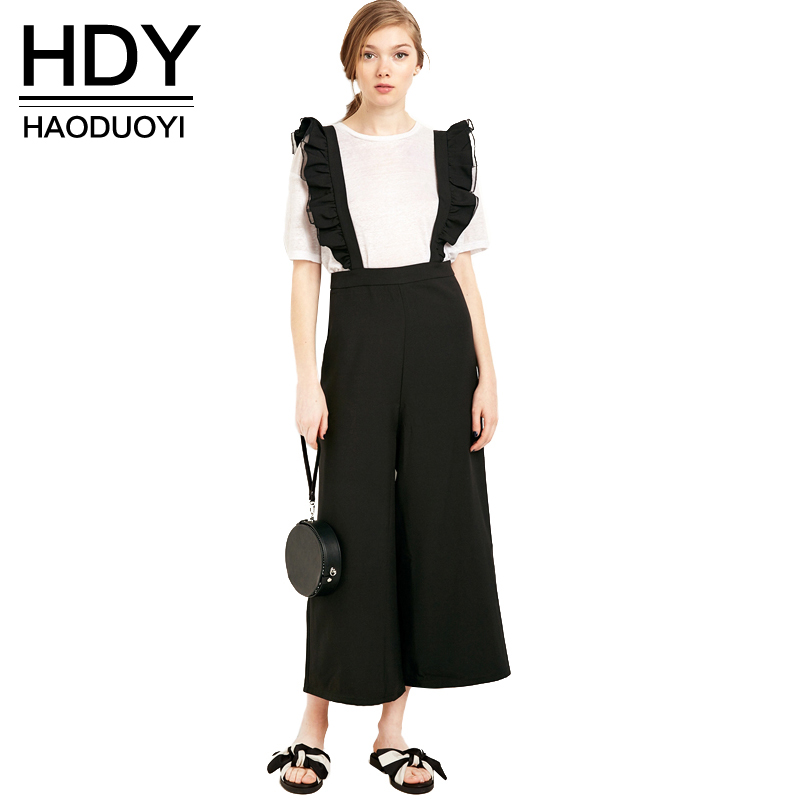 HDY Haoduoyi 2018 Autumn Fashion Womens Solid Black Ruffle Patchwork Casual   Jumpsuit   Sleeveless Wide Leg Rompers Overalls