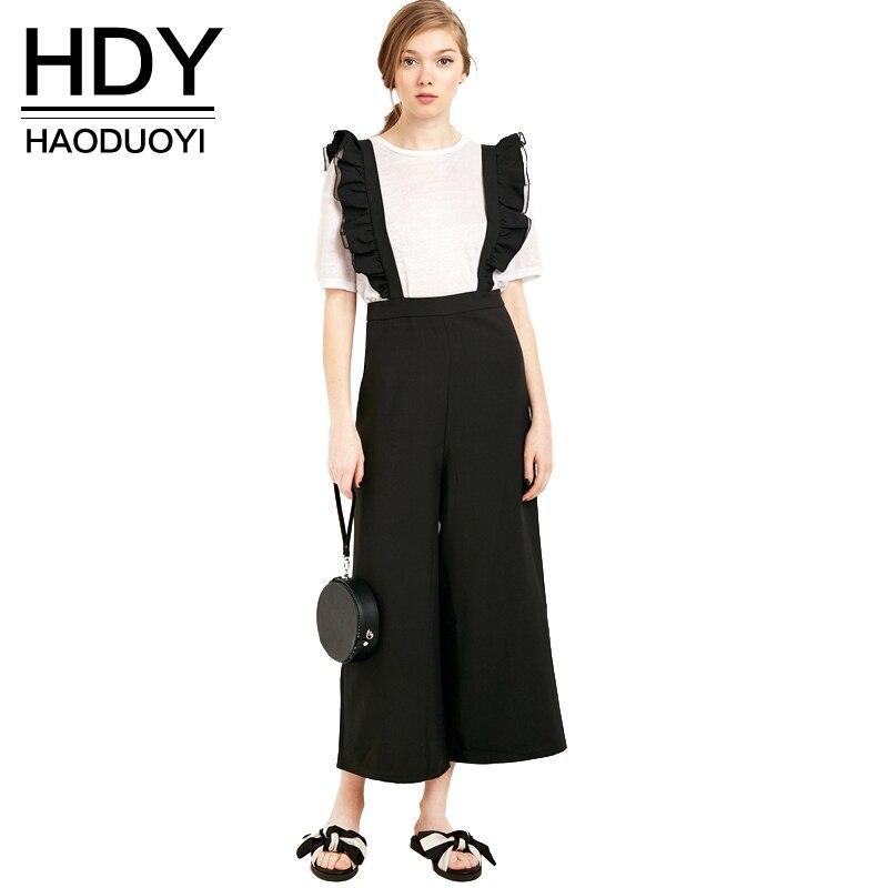 Hdy haoduoyi 2017 осень мода женская твердые черный рябить лоскутное повседневная комбинезон без рукавов широкую ногу комбинезон комбинезоны