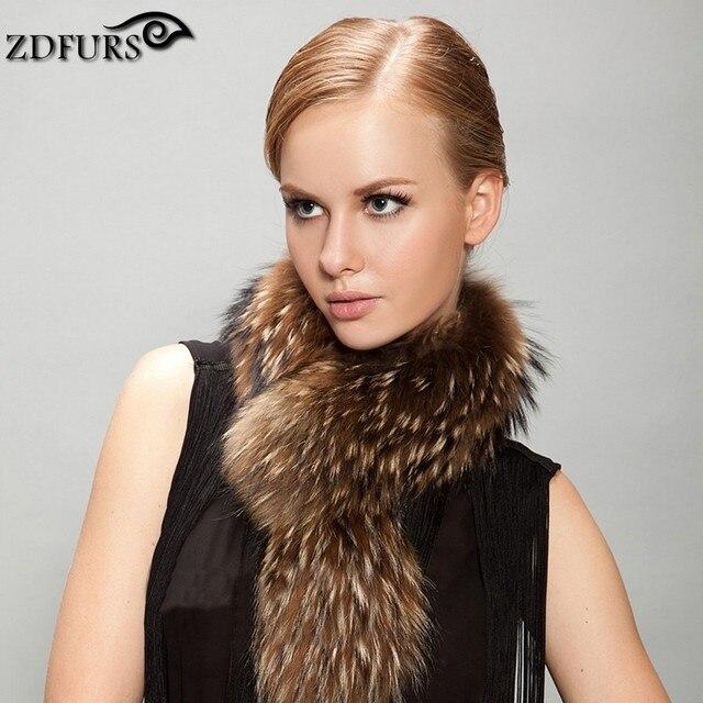 ZDFURS * Real Raccoon Fur Scarf Mulheres 100% Gola de Pele de Guaxinim Naturais Gola De Pele Inverno Quente Lenços 65*18 cm ZDC-163014
