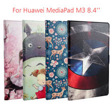 """MediaPad M3 Flip Colorful Print PU Leather Tablet Case Cover Funda For Huawei MediaPad M3 eight.four"""" Slim Protective Stand Cases Skin"""