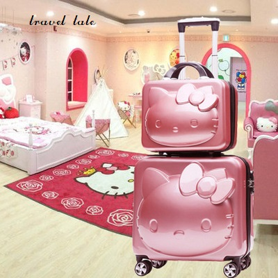 High quality KT Lovely, cartoon 3D cat ABS+PC 14/18 inch size Rolling Luggage Spinner Travel Suitcase girls' gift handbag