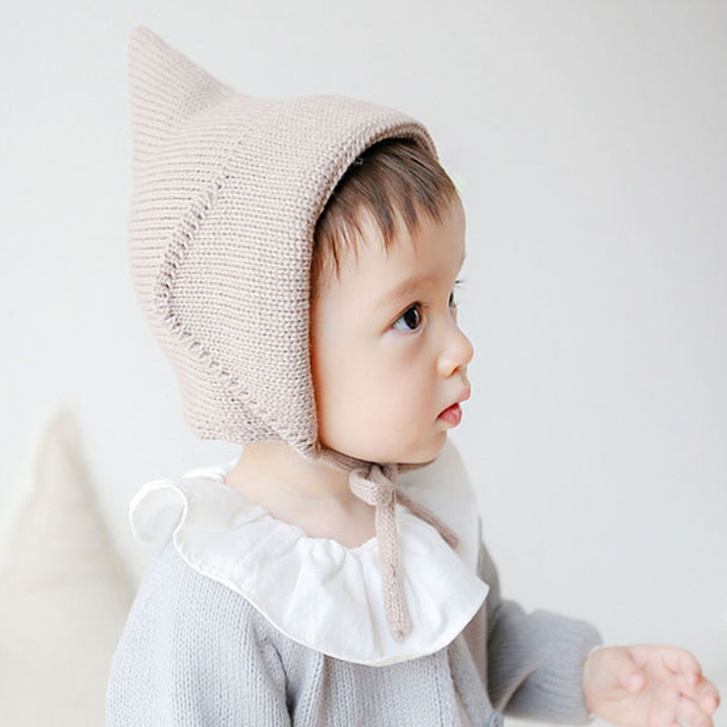 Новые Steeple Ведьмы вязаную шапочку для девочек Для мальчиков шнуровке сплошного цвета младенца Bonnet Новорожденного Fotografía Реквизит