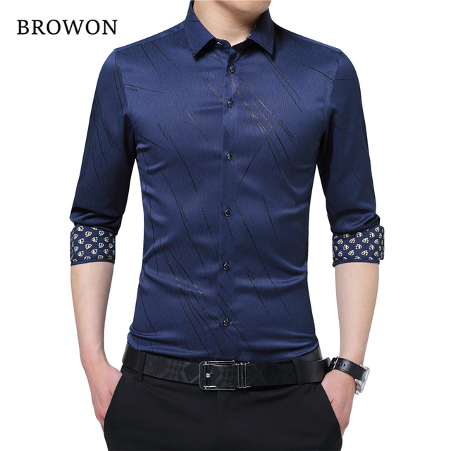 BROWON New Arrival Plus Size Mens Formal Shirts Meteor Print Long Sleeve Blouse Shirts for Men M - 5XL Imported Shirt Men 1