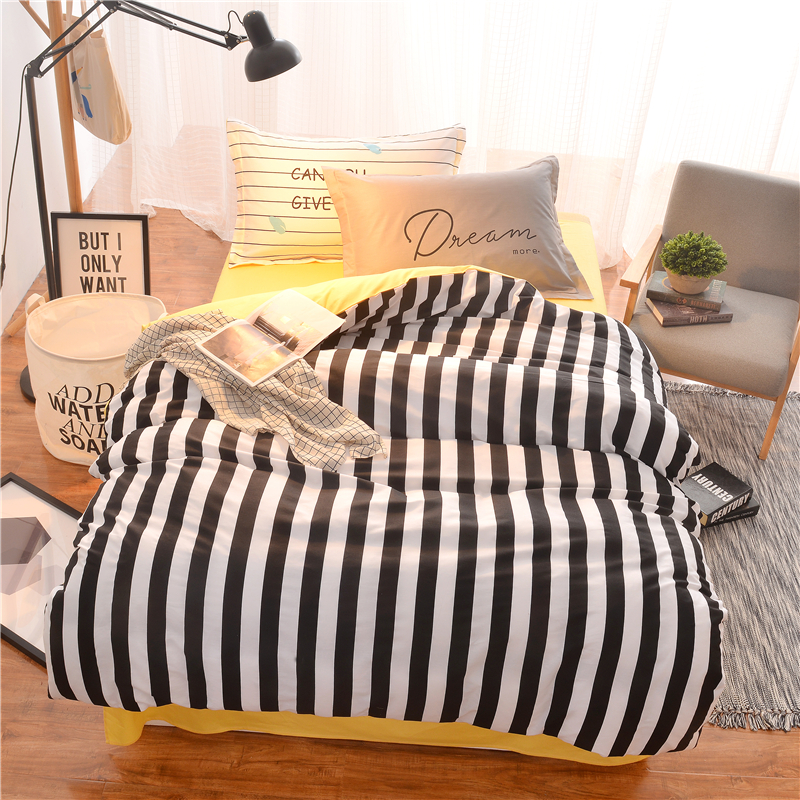 100 cotton bedding set cartoon modern floral twin queen size stripe bed duvet cover set