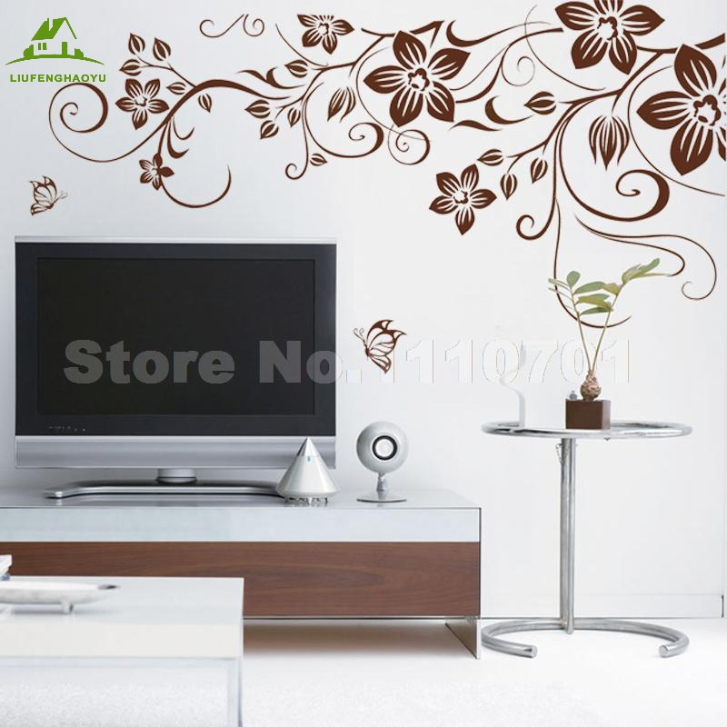 Brown flower vine diy vinyl wall stickers home decor art for Stickers 3d pared