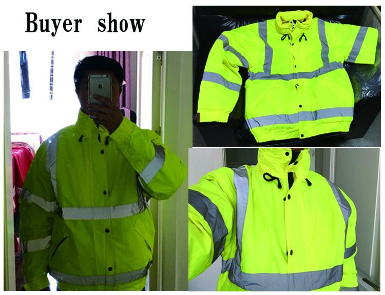 CCGK safety clothing outdoor high visibility reflective jacket waterproof rain coat  warm cotton padded work wear winter outwear (3)