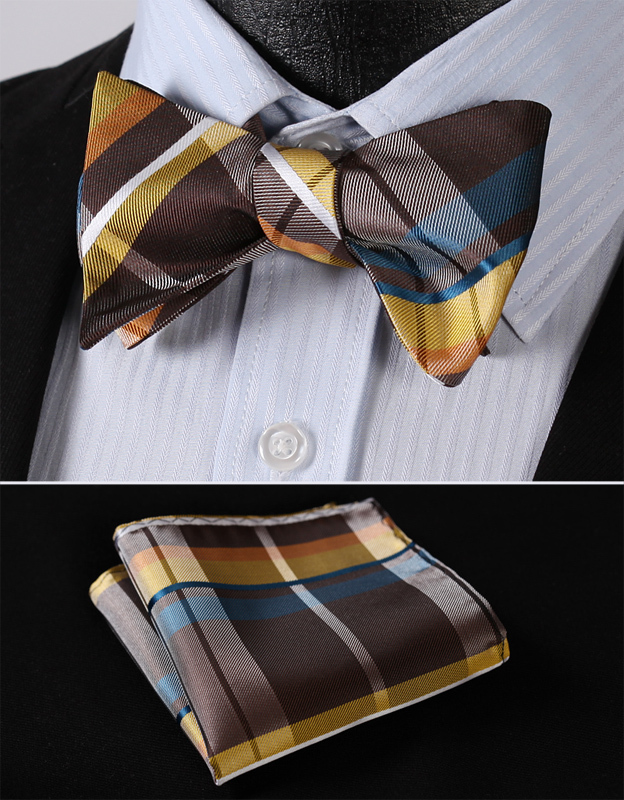 BC4010Y Yellow Brown Check Classic 100%Silk Jacquard Woven Men Butterfly Self Bow Tie BowTie Pocket Square Handkerchief Suit Set